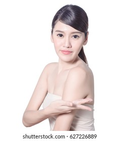 Beautiful asia woman posting to show any product on her hand, beauty woman concept with clipping path