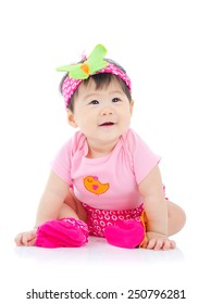 Beautiful asian baby on white background