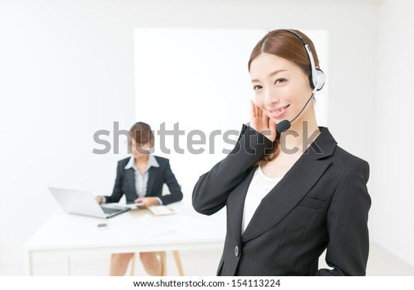 Beautiful asian business operator