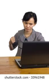 Beautiful asian business woman stress using laptop on white background