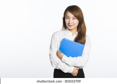 beautiful asian businesswoman portrait with white background