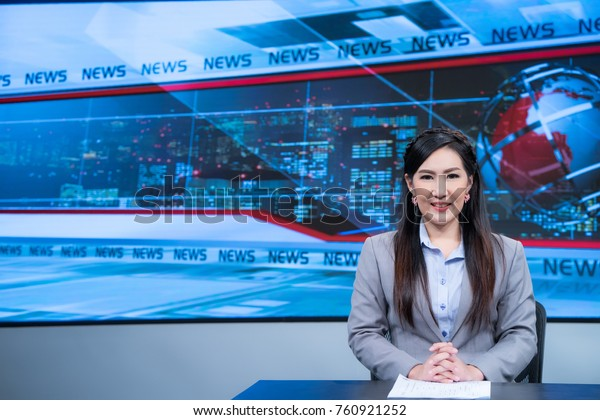 Beautiful Asian Female News Anchor Studio Stock Photo (Edit