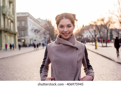 beautiful asian female on the street. Woman in city