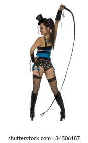 Beautiful Asian girl in blue lingerie dressed as a burlesque lion tamer dancer