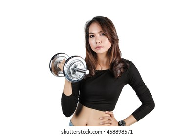Beautiful asian girl in Brutal athletic woman pumping up on white background