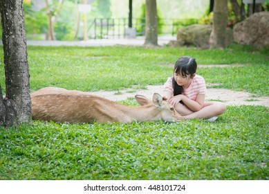 Beautiful Asian girl consolation antelope in the park