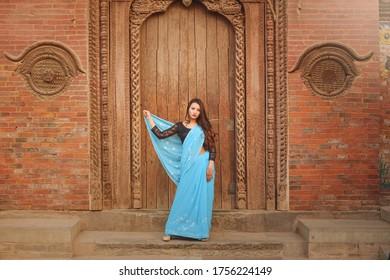 Beautiful asian girl dress up as a bride. Nepali Hindu bride. Asian Bride.Nepali girl