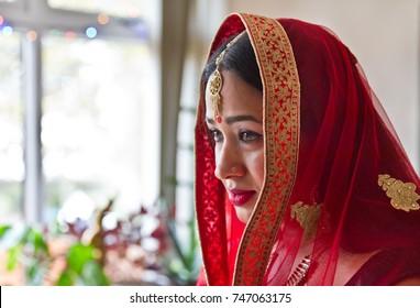 Beautiful asian girl dress up  as a bride. Nepali Hindu bride. Asian Bride