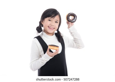 Beautiful Asian girl eating chocolate donut on white background isolated