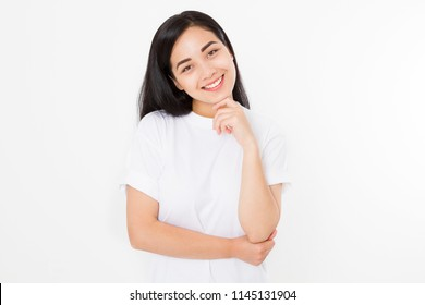 Beautiful asian girl with healthy skin isolated on white background. Skincare concept. Young korean woman smiling white health teeth.