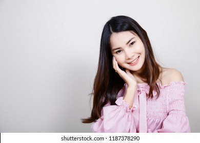 Beautiful Asian girl with healthy skin . Skincare concept.