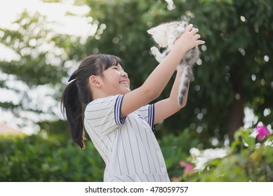Beautiful Asian girl holding Lovely  kitten with sunshine in the park
