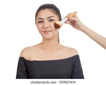 beautiful asian girl make up isolated on white background