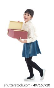 Beautiful asian girl opening gift present box on white background isolated