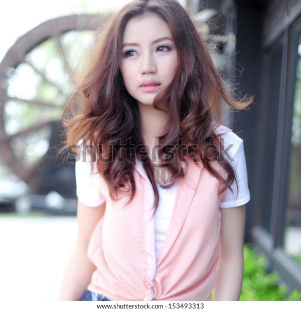 Beautiful asian girl in park