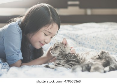 Beautiful asian girl playing with american short hair cat on the bed
