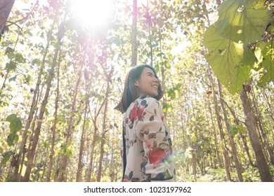 Beautiful asian girl relaxing and walking in forest and looking around trees and natural.