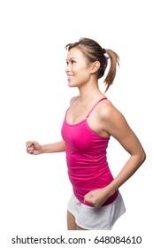 Beautiful Asian girl running
