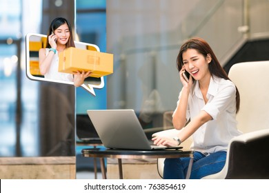 Beautiful Asian girl shop online using phone call with female small business owner delivering parcel box. Internet shopping lifestyle, Ecommerce shipment service, SME sale promotion advertise concept