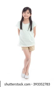 Beautiful asian girl standing on white background isolated