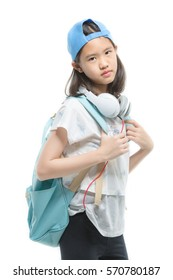 Beautiful Asian girl student with headphones on isolated background