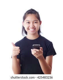 Beautiful Asian girl use mobile phone