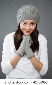 beautiful asian girl in winter clothing