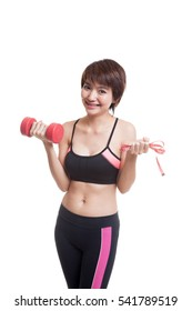 Beautiful Asian healthy girl with dumbbell and measuring tape  isolated on white background.