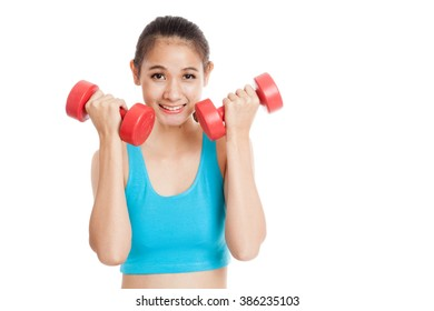 Beautiful Asian healthy girl exercise with dumbbell  isolated on white background
