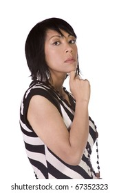Beautiful Asian Hispanic Girl Standing Up on an Isolated Background