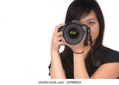 Beautiful Asian Model with camera