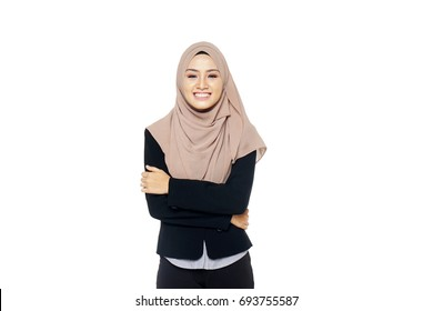 beautiful asian muslimah woman model posing on white wall studio