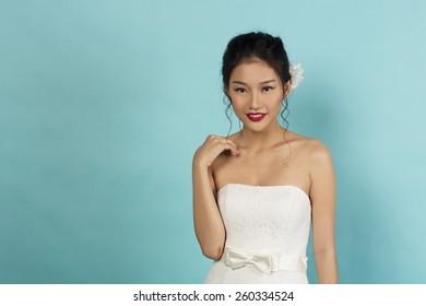 Beautiful Asian Oriental Bride in Studio