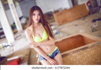 beautiful asian sexy underware girl model