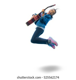 Beautiful asian teen age girl with long black hair playing  guitar and jumping in the air. asia women in white isolated background, for song, teen and girl concept.