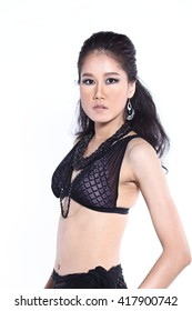 Beautiful Asian Thai Model Female in Fashion Black Sport Swim Suit Fashion Make Up with Accessory on White Background in Studio Lighting, isolated, half body
