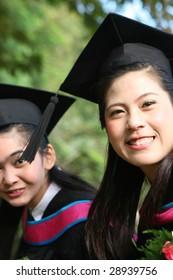 Beautiful Asian university graduates.
