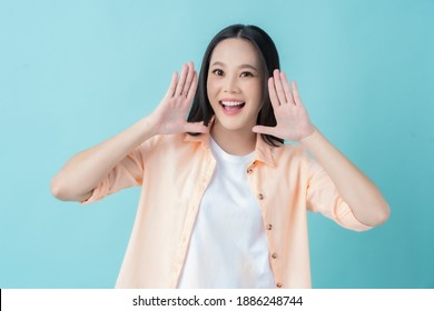 Beautiful Asian woman is announce