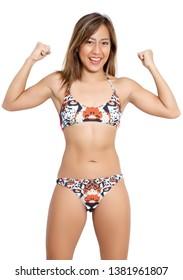 beautiful asian woman bikini and white background in studio