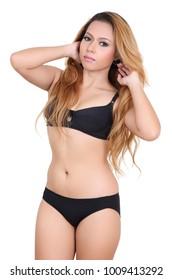 beautiful asian woman and black bikini in studio