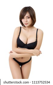 beautiful asian woman in black bikini in studio and white background