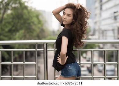 beautiful asian woman in black t-shirt