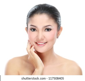 Beautiful asian woman face with smile for skincare, cosmetic, beauty hygiene, makeup, moisturize