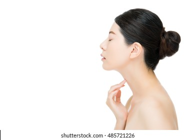Beautiful asian woman feel painful and touch her throat, isolated on white background