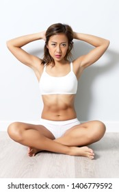 beautiful asian woman with fitness sportwear