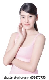 Beautiful asian woman with good skin care studio portrait on white background with clipping path, beauty woman concept