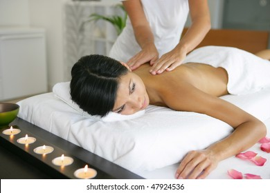Beautiful asian woman having a massage