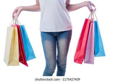 Beautiful Asian woman holding shopping with many colorful after purchases. Her wear a white T-shirt in the department store Isolated on a white background.