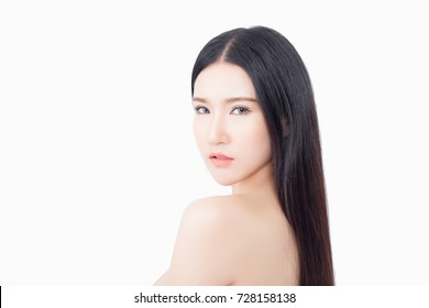 Beautiful asian woman isolated on white background - Asian beauty concept