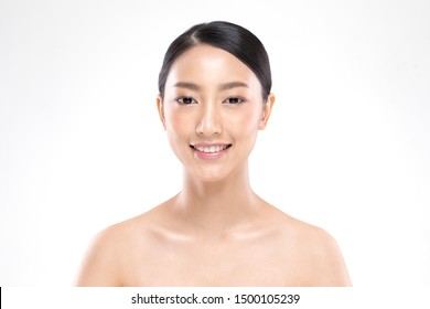 Beautiful Asian woman looking at camera smile with clean and fresh skin Happiness and cheerful with positive emotional,isolated on white background,Beauty and Cosmetics Concept